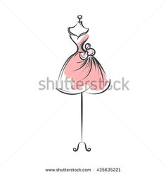 a ball gown pink mannequin hand drawing illustration on a white background