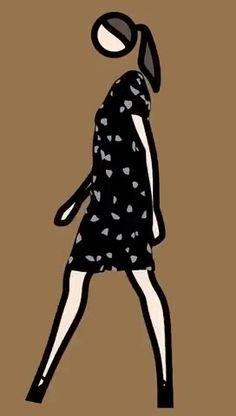 Julian Opie GIF Verity walking in dress 3, 2013
