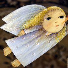 """Купить Ангел деревянный """"Зимнее утро"""" - голубой, ангел, ангелок, ангелочек, зима, зима 2016"""