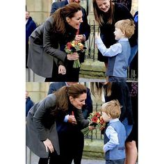 Catherine, Duchess of Cambridge receives a bunch of flowers from Theo Hayward aged three, as she leaves after visiting a GISDA centre during a visit to Caernarfon on November 20, 2015 in Wales. . aw too cute.♡ . #katemiddleton #duchessofcambridge