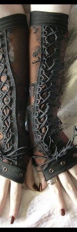 Black lace long cuffs
