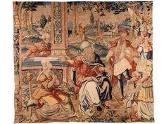 Höhe: 282 cm. Breite: 330 cm. Flandern, Anfang 17. Jahrhundert. Großes Bildfeld ohne Randbordüre, mit antiker thematischer Darstellung. Im Zentrum ein...