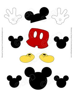 MICKEY MOUSE PARTS Ribbon Graphics Minnie Y Mickey Mouse, Fiesta Mickey Mouse, Mickey Mouse 1st Birthday, Mickey Mouse Clubhouse Party, Disney Mickey, Mickey Mouse Template, Disney Diy, Art Disney, Disney Crafts