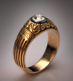Gents rings - diamond gold ring with carved decorations