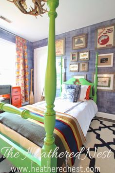 Thoughts on Hitchhiking   The Heathered Nest  Annie Sloan Antibes Green Four Poster Bed Makeover