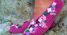 Uma Linda Sugestão de Como fazer uma Sapatilha de Quarto em Tricô! Vimos Aqui: http://www.duitang.com/ people/mblog/102492744/ detail/ ...