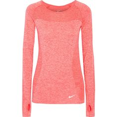 Nike Dri-FIT stretch-jersey top ($80) ❤ liked on Polyvore featuring activewear, activewear tops, orange, stretch jersey, nike, nike sportswear and nike activewear