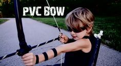 Hawkeye PVC Bow and Arrows  Here is what you will need:      3/4 inch PVC Pipe  (4 feet)     3/4 inch PVC Cross Connector     PVC cement/primer Combo     4 1/2-5 feet braided nylon string     Black Gorilla or duct tape     3/8 Oak Dowels (one makes two arrows)     5/8 Rubber Chair Tips (one per arrow)     Hot glue or 2 inch squares of felt (two per arrow)     **Optional Black Spray Paint**