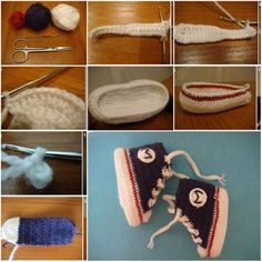 How To Crochet Tennis Booties step by step DIY tutorial instructions, How to, how to make, step by step, picture tutorials, diy instructions, craft, do it yourself