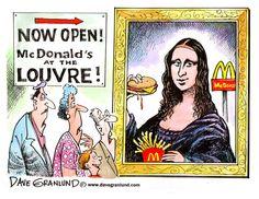 McDonald's opens at Louvre [Dave Granlund] (Gioconda / Mona Lisa)