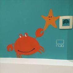 Décoration peinture chambre enfant salle de bain enfant. Crabe étoile. Prise Mural Painting, Paintings, Decoration, Home Decor, Art, Atelier, Hobby Lobby Bedroom, Children, Animaux