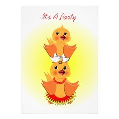 Cute Chick Birds Kids & toddlers Birthday Party Invitations - easy to personalize template