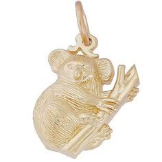 Koala Bear Charm $29.50 http://www.charmnjewelry.com/category/n250/Gold-Animal_Charms.htm?returnurl #AnimalCharm #RembrandtCharms