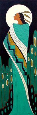 "Full Moon (acrylic on canvas 36""x12"") - Maxine Noel (Santee Oglala Sioux)"