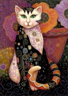 Art Et Illustration, Illustrations, Cat Embroidery, Subject Of Art, Animal Gato, Frida Art, Chicago Art, Cat Colors, Cat Drawing