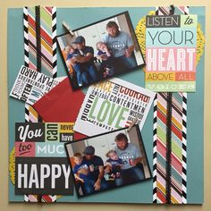 Two photo scrapbook layout Layout, Scrapbook, Baseball Cards, Happy, Page Layout, Scrapbooks, Ser Feliz, Happiness, Scrapbooking