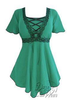 Dare To Wear Victorian Gothic Women's Plus Size Angel Corset Top Emerald/Black