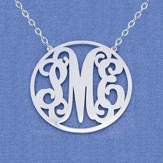 Bridesmaid GiftMonogram necklacesterling by mymonogramdesign, $39.90