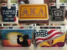 Hand painted fraternity cooler by Amanda Tiberi! Alpha kappa lambda (AKL) frat cooler.