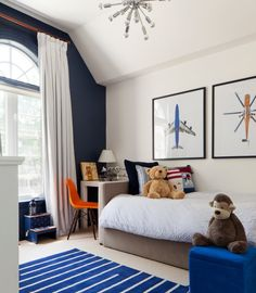 Boys room, accent wall. kids bedroom. home decor and interior decorating ideas. navy and white.