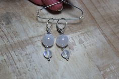 Simple earrings with a drop shaped white Selenite