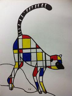 Mrs. Wille's Art Room: Mondrian inspired animal paintings Piet Mondrian, Mondrian Kunst, Mondrian Art Projects, Elementary Art Lesson Plans, 2nd Grade Art, Madhubani Art, Art Plastique, Teaching Art, Animal Paintings