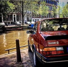 An Absolutely Gorgeous Pic Of The Classic Saab 900 Turbo 4-Door Luxury Sport Sedan In Amsterdam