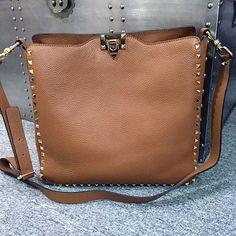 Valentino Rockstud Tan Messenger Bag