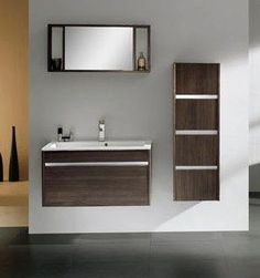 Bathroom vanity and open shelves