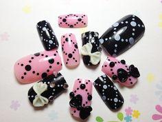 New fake nails Pink Black Ribbon Nails | MiCHi MALL