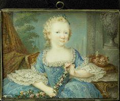 Wilhelmina Carolina (Carolina; 1743-87), prinses van Oranje-Nassau, dochter van Willem IV en zuster van Willem V, als kind, Robert Mussard, 1743 - 1755. #Rijksmuseum