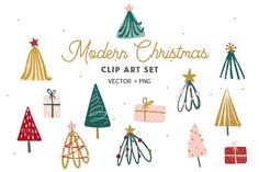 You can find matching patterns here: A set of modern hand drawn Christmas graphics including christmas trees and gift boxes.