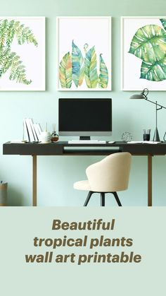Corporate Office Decor, Diy Wall Decor, Home Decor, Bathroom Wall Art, Plant Wall, Tropical Plants, Printable Wall Art, Home Office, Printables