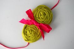 Lime green and pink rosette headband for baby by TheCraftyEuropean, $9.00