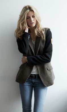 Wool blazer with the sleeves removed??  I might just try this with one of my vintage menswear jackets.