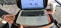 TaboLap laptop bag turns into the most convenient Table On Lap at the airport.