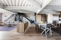 San Francisco Renovation White oak floors, exposed concrete, and steel beams in renovation by Erica Severns. Exposed Concrete, Exposed Wood, Steel Beams, Wood Beams, Home Decor Bedroom, Living Room Decor, Dining Room, Layout Design, Wood Design