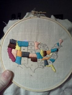Emboidered Map. How she did it tracing map onto fabric. Don't forget to do this! Pinterest Made Me Do It :: Embroidered Map