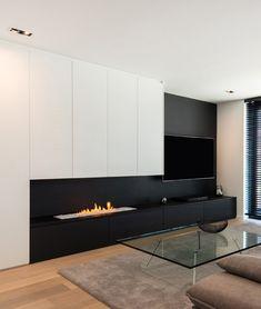 Home Fireplace, Modern Fireplace, Living Room With Fireplace, Living Room Tv Cabinet, Ikea Living Room, Living Rooms, Fireplace Feature Wall, Living Room Tv Unit Designs, Modern Kitchen Interiors