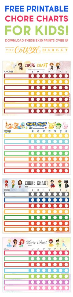 Free Printable Chore Charts for KIDS!!!