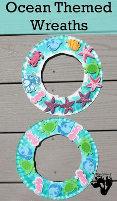 Ocean Themed Wreaths - Easy to make paper plate wreaths that kids can have fun making - http://3Dinosaurs.com