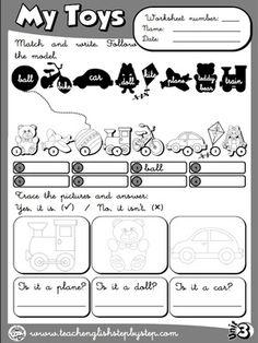 My Toys - Worksheet 6 (B&W version)