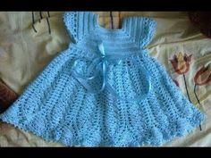 تعليم الكروشيه : فستان طفله كروشيه بصدر مربع  / ورشه عمل فستان طفله بصدر مربع + باترون - YouTube