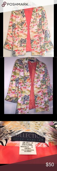 🦁Vintage 80s Designer SAFARI GLAM Zebra Blazer Harvé Bernard Vintage AMAZING casual Safari Paradise Jacket! I know: ''tis NOT the season for this one, but I cannot effin resist adding this to muh closet. The factors of cuteness, radness, and EUC compel me. Lined in salmon silky goodness, this is fully patterned w Lilly Pulitzer type goodness in tropical hues. Side slits and on seam pockets. Fold up sleeves, open front (no buttons) Vintage size 4. Measurements in comments section. We are NOT…