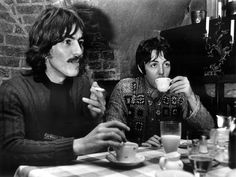 """the-cosmic-empire: """"George and Paul having lunch at Tunneln Hotel in Malmö, Sweden on the 15th October, 1967. """""""