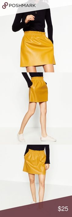 Zara faux leather mustard yellow ruffled skirt M New with tags! Adorable skirt with elastic waistband, side pockets. Bundle to save 25%! Zara Skirts