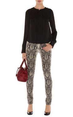 Jeans | Cream Neutral snake print jean | KarenMillen Stores Limited