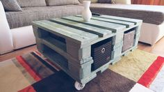 See how to paint a pallet blue to make your living room decor look like you spent hundreds—and it only costs $30!