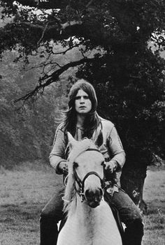 "blacksabbathica: "" Ozzy Osbourne on his horse Turpin "" Ozzy Osbourne Young, Ozzy Osbourne Black Sabbath, Geezer Butler, Grunge, Metal Drum, Rock Of Ages, Judas Priest, Jack White, Thrash Metal"
