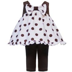 Rare Editions NEWBORN 2-Piece BROWN WHITE BOW FRONT POLKA DOT TOP and LEGGINGS Special Occasion Party Dress/Outfit Set $29.95
